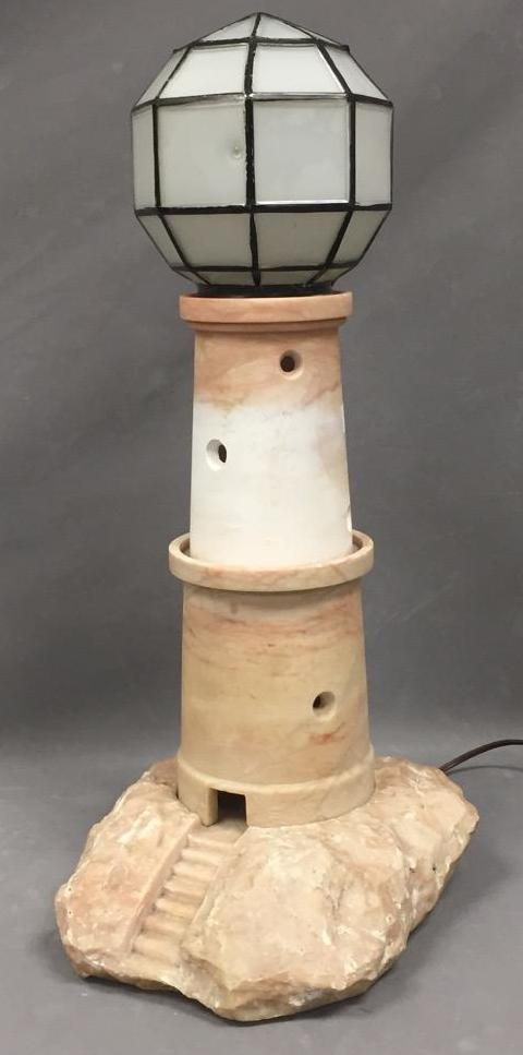 Alabaster lighthouse lamp