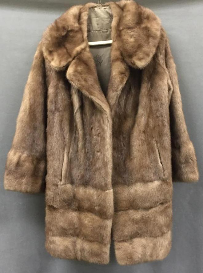 Vintage mink fur coat w/silk interior
