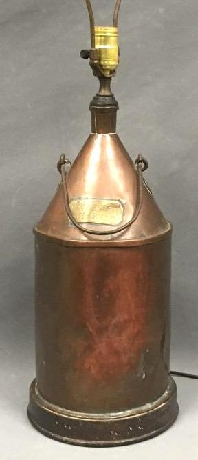 19th Century hand-made copper lamp, inscribed plaque reads