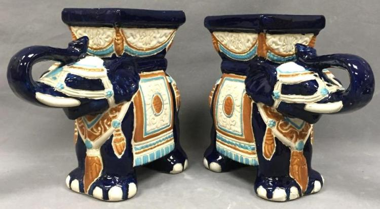 Pair of blue glazed elephant planters