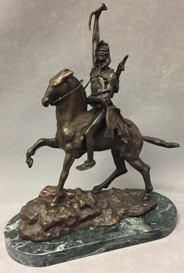 Bronze sculpture of Native American, after Remington