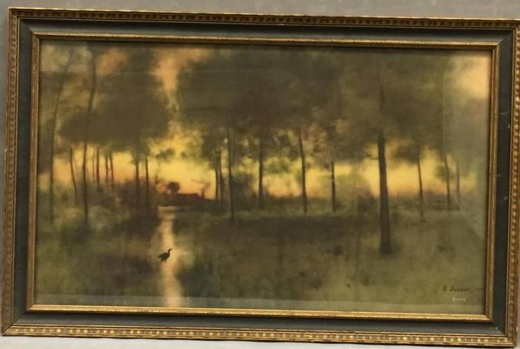 Beautiful signed stone lithograph landscape, signed
