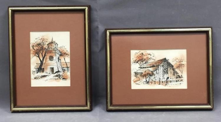 2 Mid Century signed watercolor paintings of beautiful rural scenes, signed