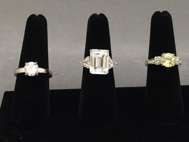 3 Cubic Zirconian costume jewelry rings