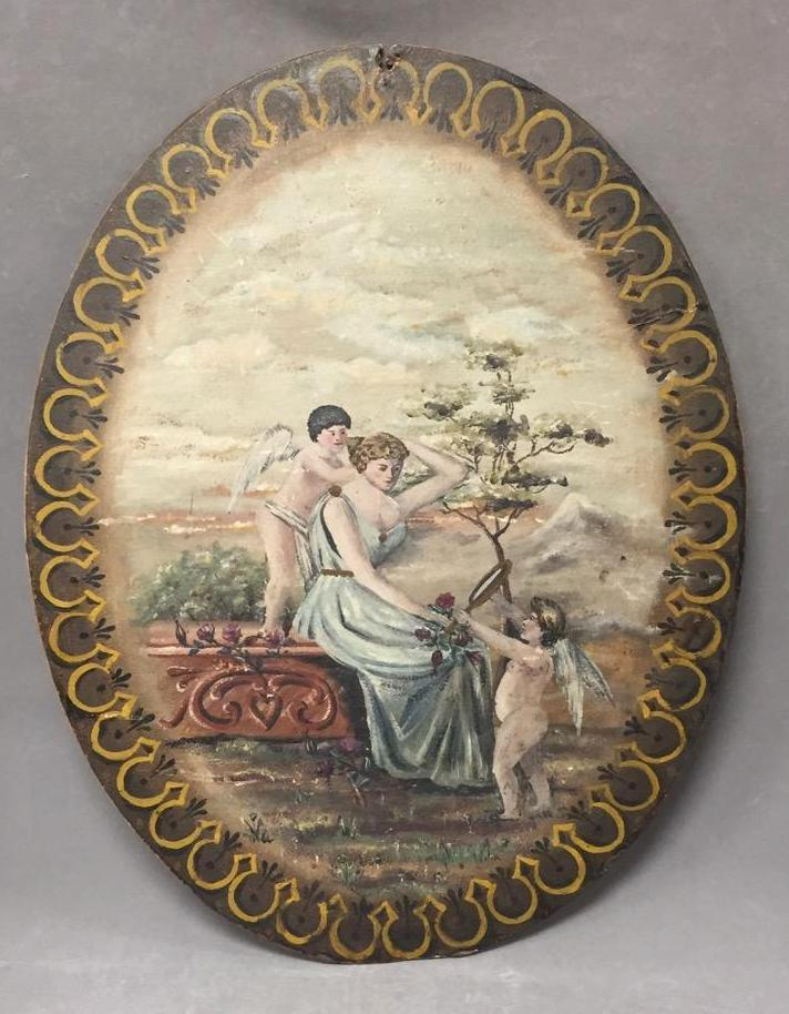 Antique folk art oil painting on board of woman and cherubs, inscribed on back,