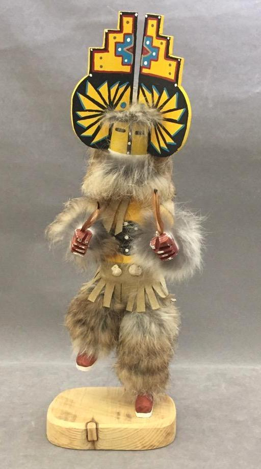 Native American Indian rabbit fur kachina dancer doll w/removable mask, artist signed