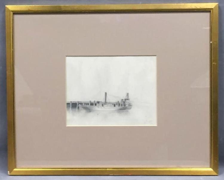 Jules Mersfelder nautical ship drawing, pencil signed and dated 1881