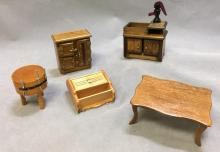 Lot of (5) dollhouse kitchen furniture, butcher block and more