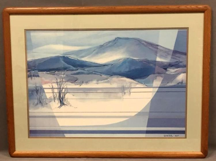 Vintage offset lithograph of desert landscape, Mary Ann Ginter