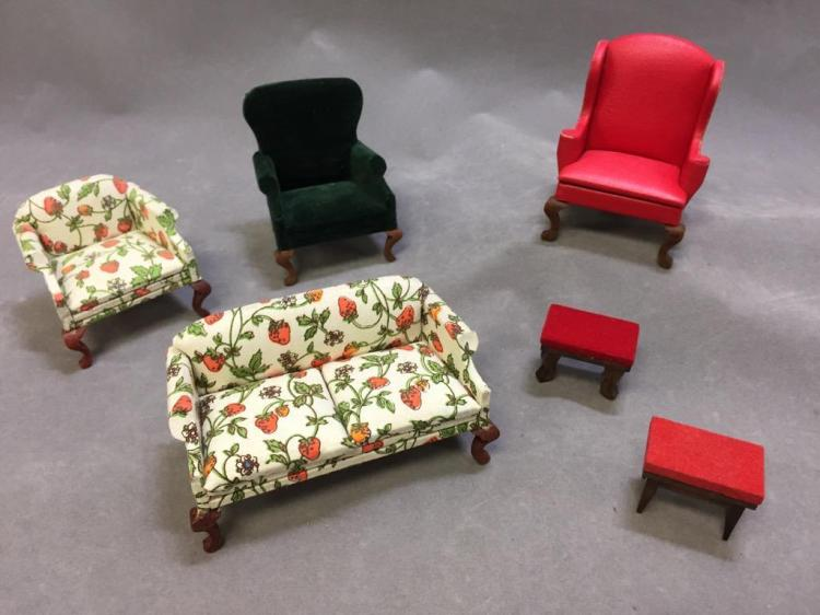 Lot of (6) dollhouse furniture: armchairs; couch; foot stools