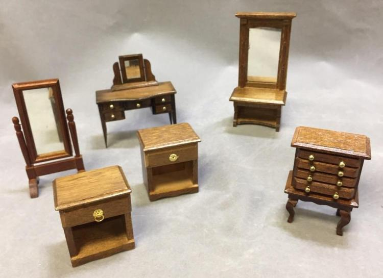Lot of (6) dollhouse furniture: standing mirrors; vanity w/ mirror; nightstand pair; dresser