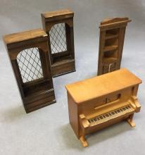 Lot of (4) dollhouse furniture, player piano and more