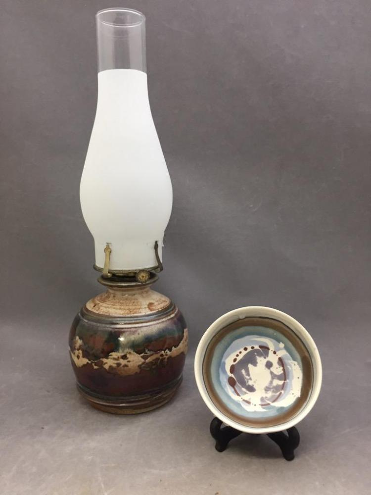 Mid Century art pottery oil lamp and bowl, lamp is artist signed, bowl is Scottish