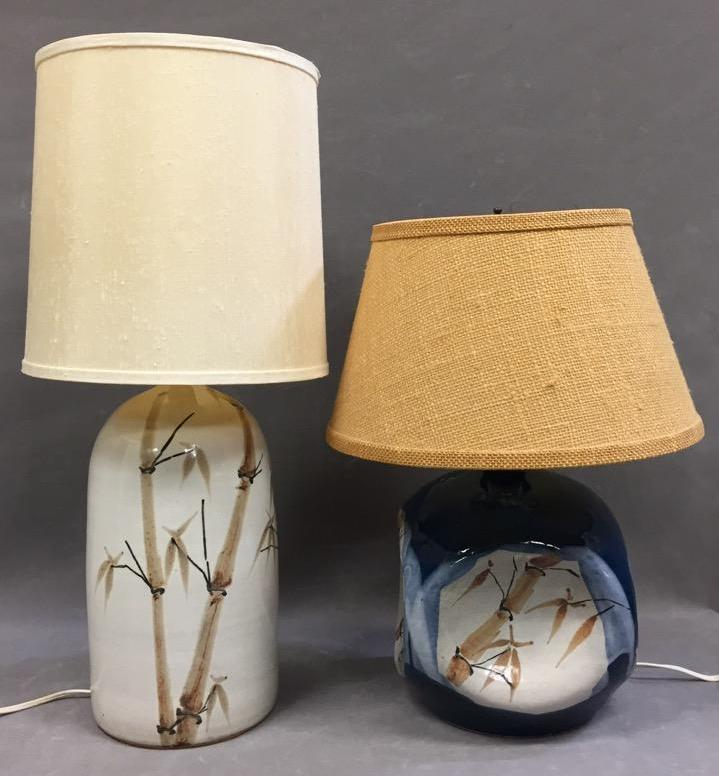 (2) Asian style Mid-Century hand-painted pottery lamps, bamboo motif