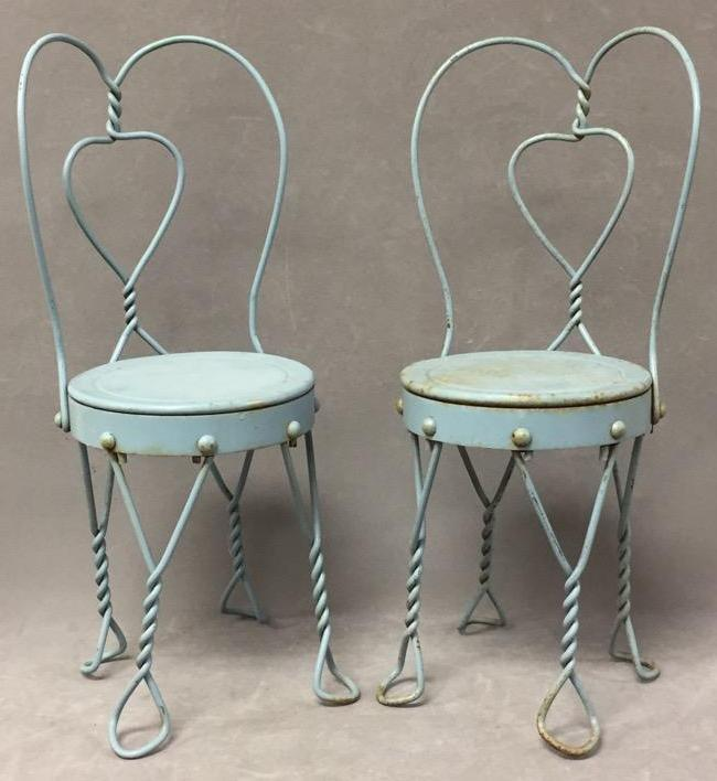 Pair of vintage small blue ice cream parlor chairs
