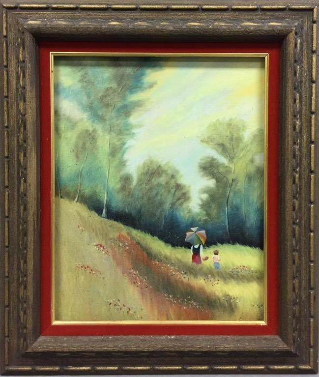 Mid Century peaceful landscape oil painting w/mother & child in green pasture
