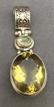 Sterling silver pendant w/yellow stone, 15g, length 2