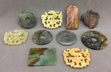 10 Chinese carved stone medallions
