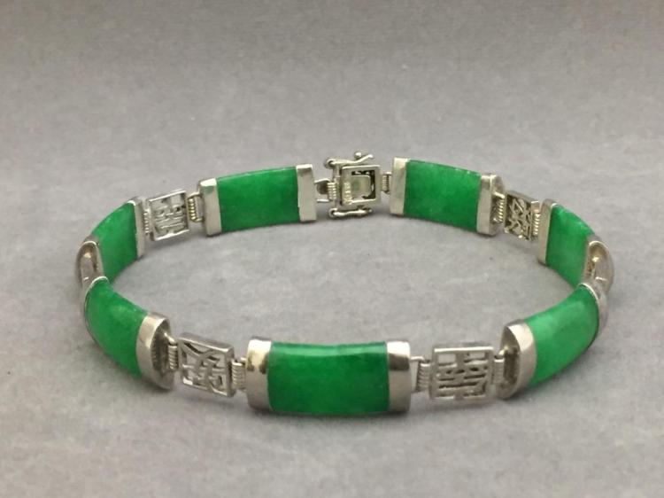 Sterling silver & apple green jade bracelet, marked