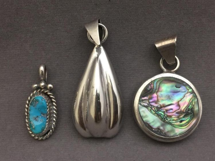 3 Sterling silver jewelry pendants, 20.6g