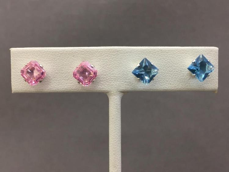 Pair of aquamarine & pink sapphire Asscher cut earrings set in sterling silver