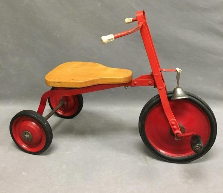 1930s child's red tricycle with bell Height