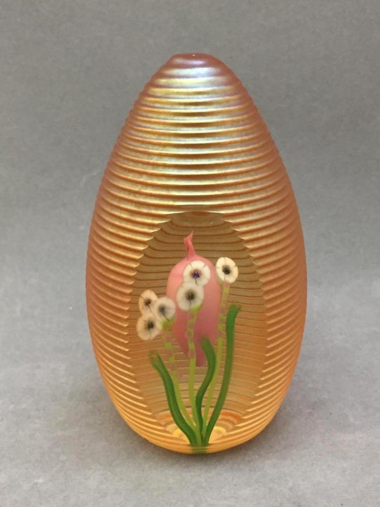 Zellique Studio art glass iridescent paperweight designed by Jim Morel