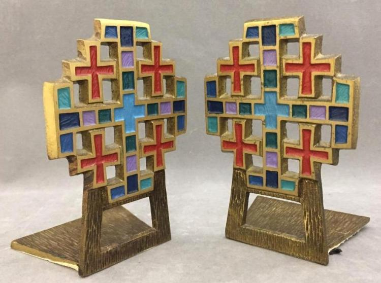 Pair of Mid Century enameled brass cross bookends by Terra Sancta Guild