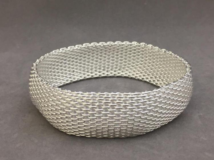Sterling silver mesh bangle, 37.4g
