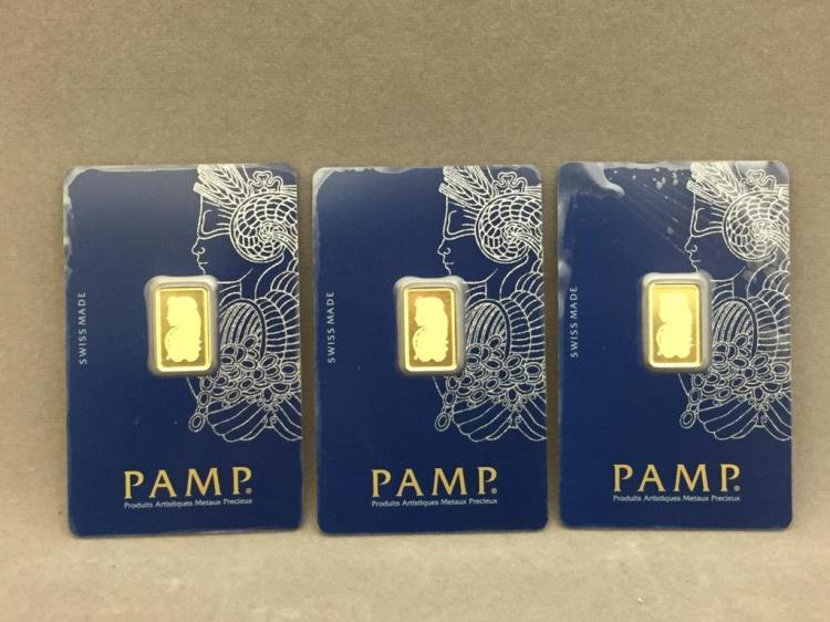 3 Swiss 999.9 fine gold bars, 7.5g
