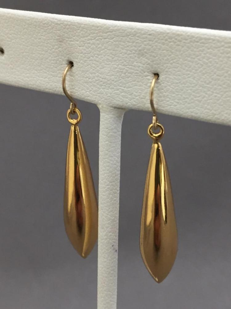 14K Gold teardrop dangle earrings, 2.2g, 6mm x 31mm