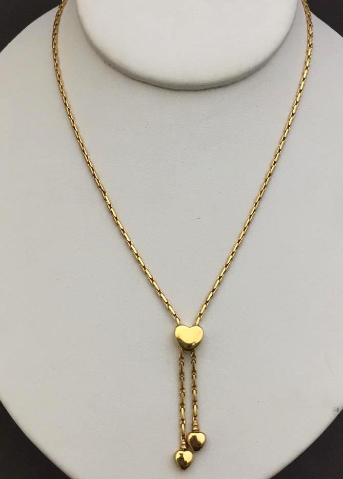 14K Gold Italian necklace w/heart pendants, 6.3g