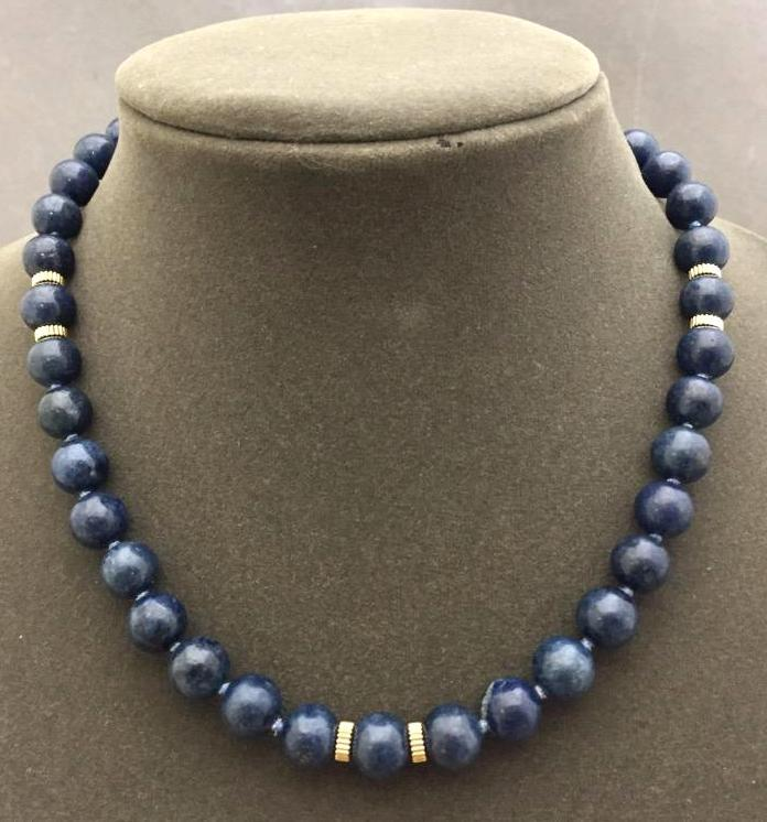 14K Gold & lapis lazuli necklace, marked