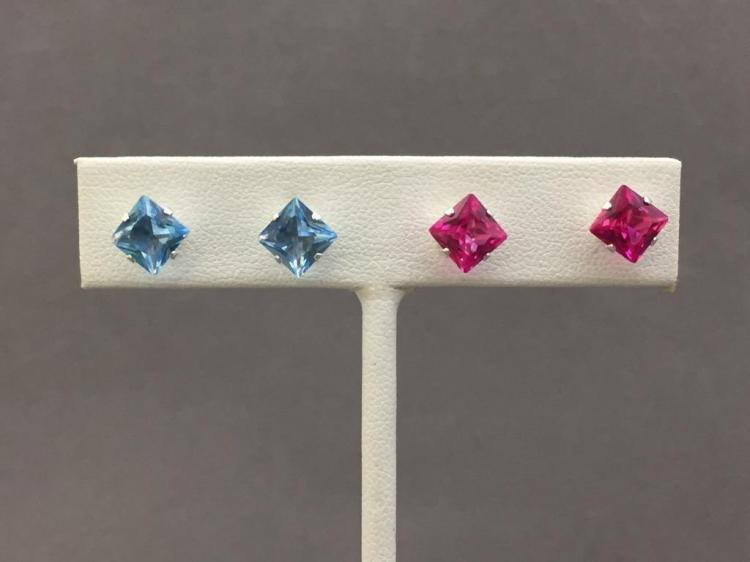 Pair of pink sapphire & aquamarine earrings set in sterling silver