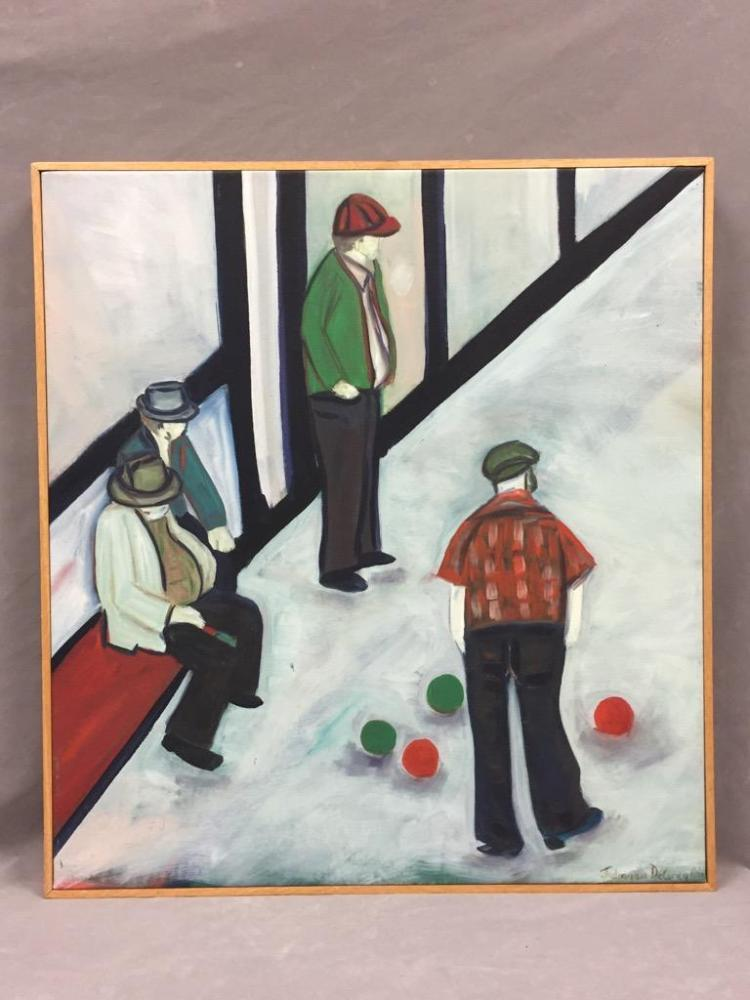Modernist figurative bocce ball acrylic painting on canvas by deceased Santa Cruz artist Juliana DeGregorio