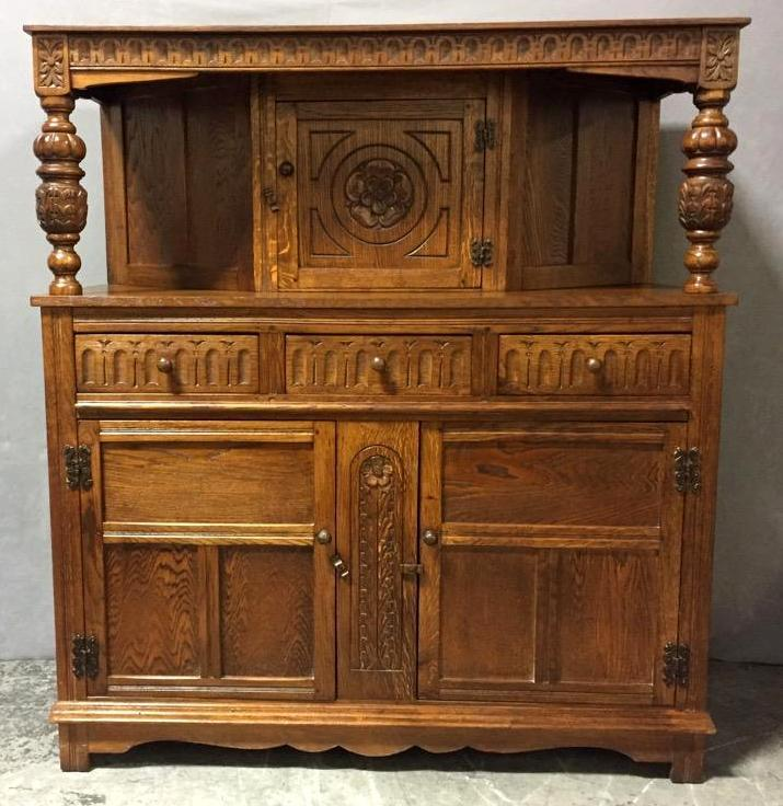 Antique hand-carved tiger oak quarter sawn dresser