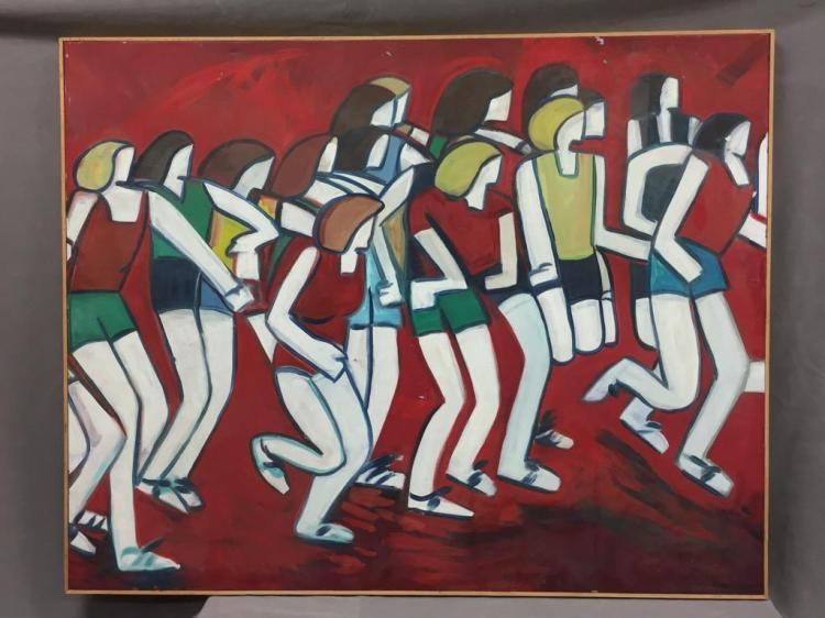 Monumental Modernist marathon acrylic painting on canvas by deceased Santa Cruz artist Juliana DeGregorio