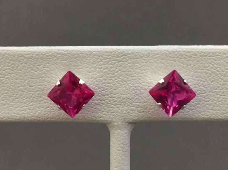Pair of 2.5ct pink sapphire Princess-cut earrings set in sterling silver