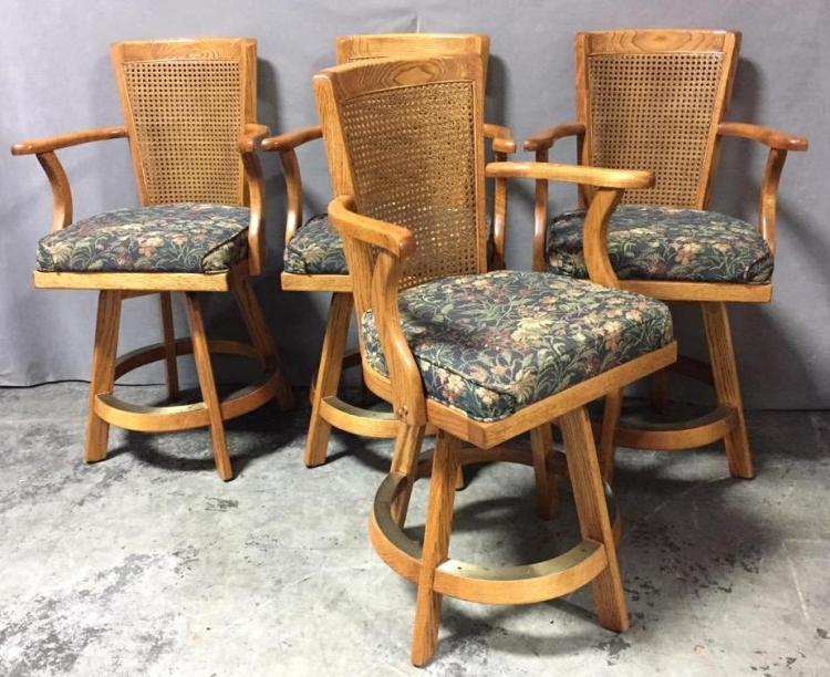 Vintage cane back bar stools w/embroidered floral seats