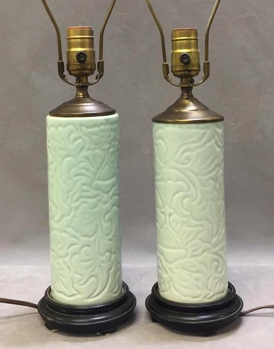 Pair of celadon porcelain lamps w/wood bases