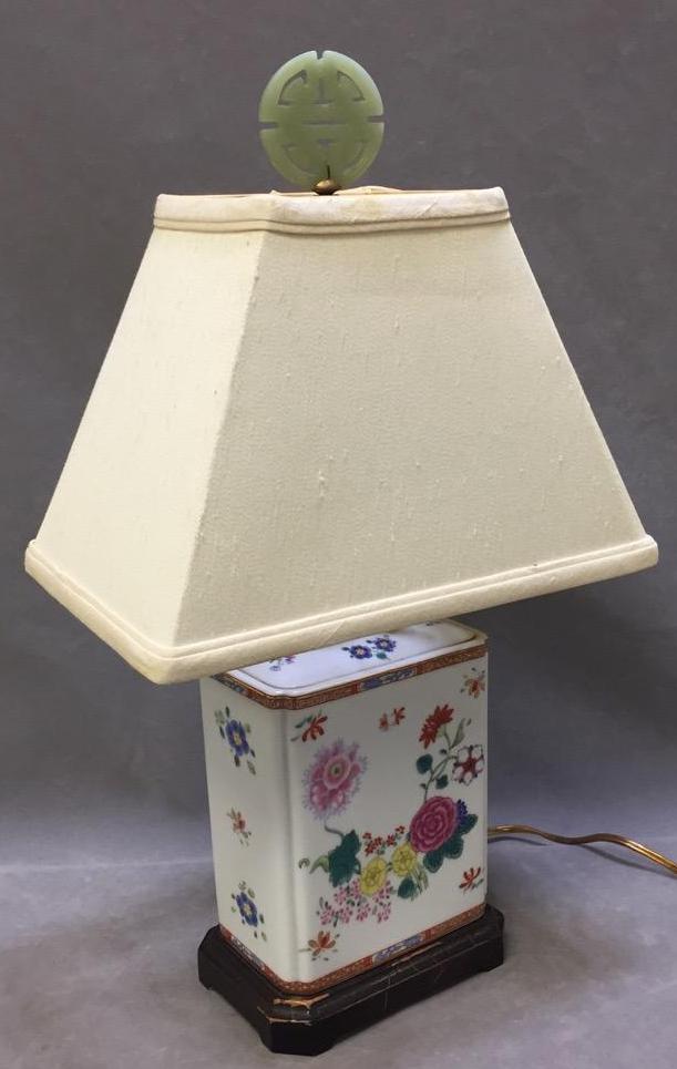 Asian porcelain lamp w/hard stone finial