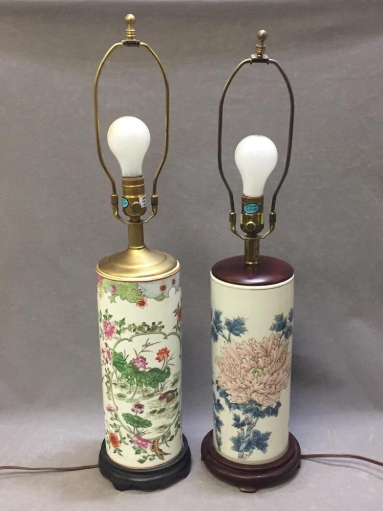 2 Asian hand-painted porcelain lamps