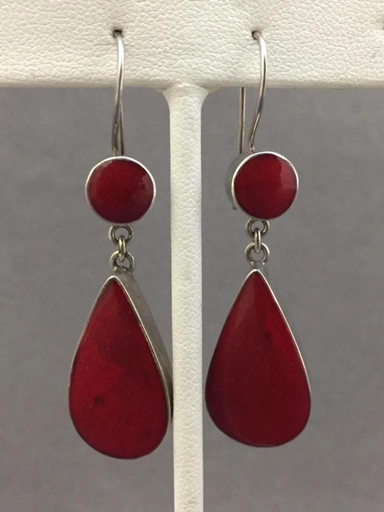 Pair of sterling silver drop earrings w/beautiful red stone, 7.6g, length 1.5