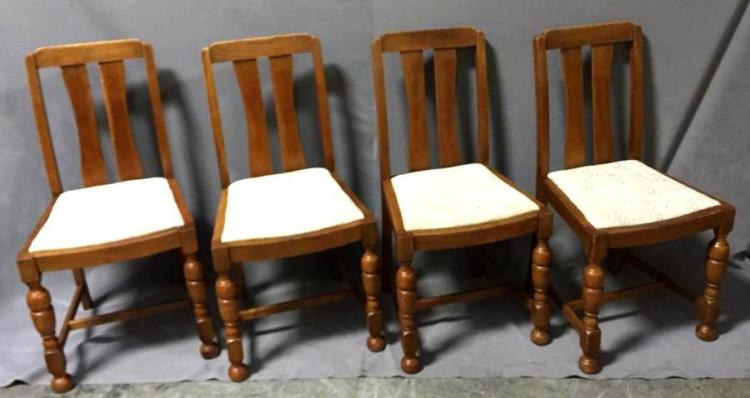 Set of (4) antique quarter sawn oak chairs