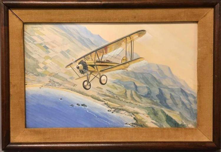 Mid Century bi-plane watercolor painting-illustration, signed