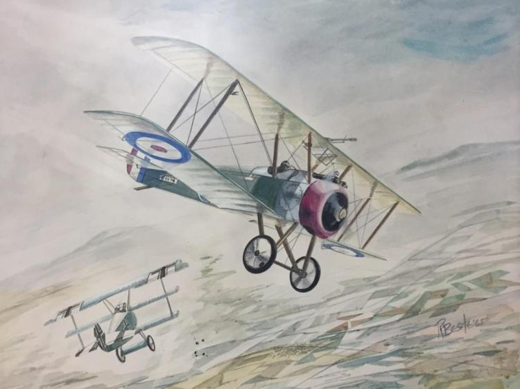 Mid Century  bi-plane dogfight watercolor painting-illustration, signed