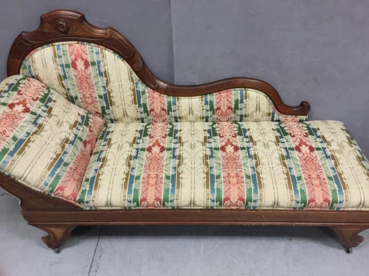Antique eastlake mahogany chaise lounge carved floriated de for Carved chaise lounge