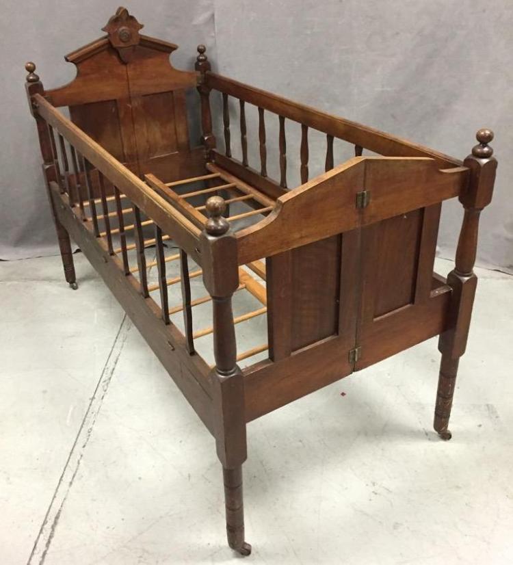 antique eastlake collapsible crib