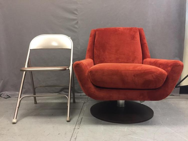 Couch potato swiveling red modern chair friends of hospice for The couch potato furniture