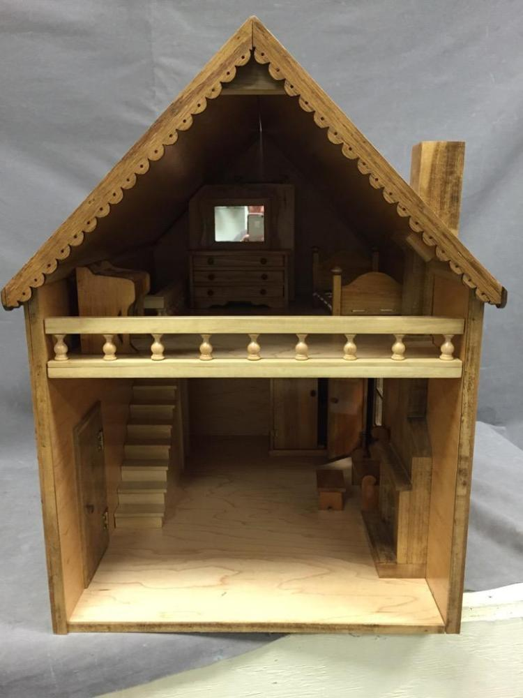 large vintage wood doll house with a matching some matching. Black Bedroom Furniture Sets. Home Design Ideas